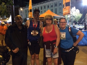 My dad, My mom, and my girlfriend at the end of the Ironman.